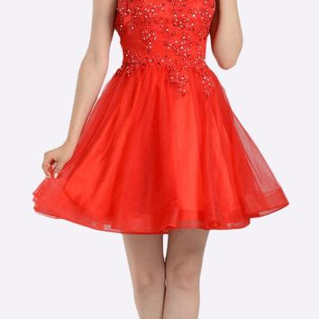 Red Lace Applique Bodice Short Prom Dress Sleeveless Cut Out Back