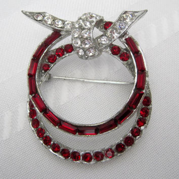 Vintage signed Pell Red Channel Pave Rhinestone Brooch