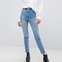 ASOS DESIGN Farleigh high waist slim mom jeans in light stone wash at asos.com