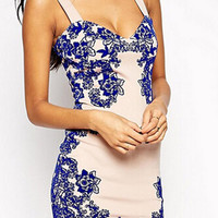 Tile Print Strappy Sweetheart Neck Pencil Mini Bodycon Dress