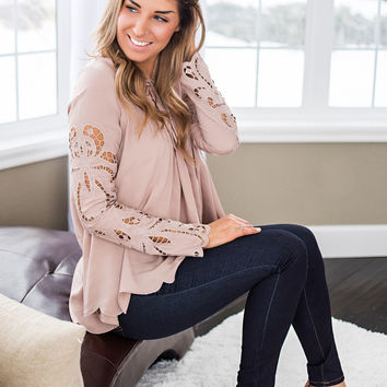 Hometown Girl Embroidered Babydoll Top (Taupe)