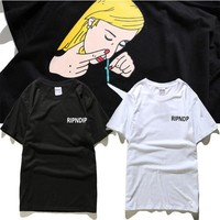 Couple Short Sleeve T-shirts Tops Round-neck Cotton Summer Straw [10233714887]