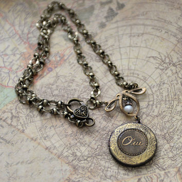 Oui Locket Necklace, French Charm Locket, Art Nouveau Locket, Vintage Inspired Locket Necklace, Keepsake Locket Necklace, SRAJD