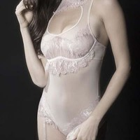 Sexy Scalloped Eyelash Lace Collared Teddy with Detachable Garters