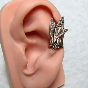 Steampunk Honey Bee Ear cuff by ranaway on Etsy