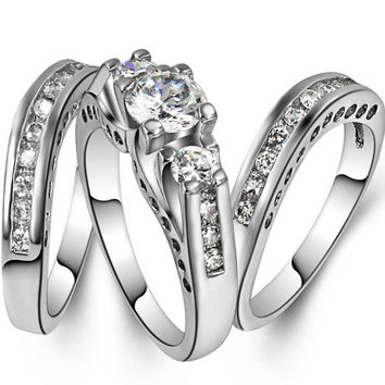 Size 5-11 White Gold Rhodium Plated Engagement Wedding Three-in-One Ring Pair Set Cocktail Party Mother's Day Gifts Daughter