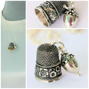 Sterling Silver Antique Thimble With Acorn Hidden Kisses Necklace - Peter Pan and Wendy - Second Star Right