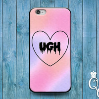 iPhone 4 4s 5 5s 5c 6 6s plus iPod Touch 4th 5th 6th Generation Funny Black UGH Phone Cover Cool Pink Cute Fun Custom Pastel Girly Girl Case