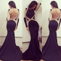 Black Cut Out Mesh Backless Maxi Dress