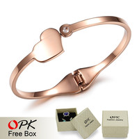 Sweet Heart Stainless Steel Exquisite Women Bangle