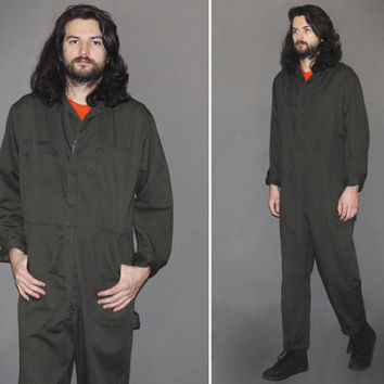 Mens Vintage 70s COVERALLS / Deep Olive Grey Jumpsuit / Long Sleeve Workwear, Mechanic / One Piece Streetwear, Flight Suit, Cargo / Medium