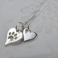 ON SALE Dog Charm Necklace / Initial Charm Necklace / Heart Pet Charm Necklace