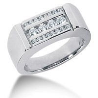Round Brilliant Diamond Mens Ring in 14k white gold  (0.56cttw, F-G Color, SI2 Clarity)