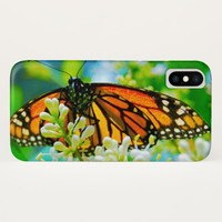Cute, chic orange monarch butterfly close-up photo iPhone x case