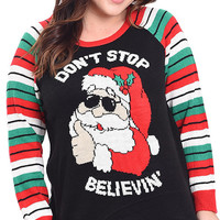 Plus Size Don't Stop Believing Ugly Christmas Sweater