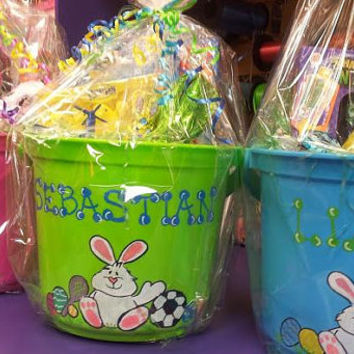 Personalized Easter Buckets, Personalized Pails, Buckets in all Sizes, Wide Mouth Easter Buckets, Easter Favors