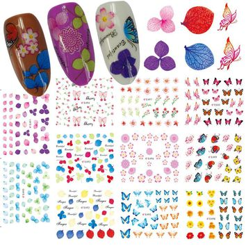 1 Sets 11 Summer Designs 3D Nail Art Tips Green/Blue Leaf Flower Butterfly Self Adhesive Decals Nail Sticker Salon CHE490-E500