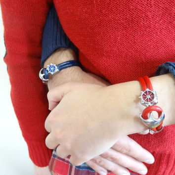 Unisex, Red,Navy Blue Leather Bracelet, Unisex Jewelry, Anchor Bracelet, Cuff Bracelet, Valentine's Gifts, 2 piece
