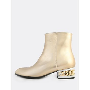 Chain Heel Patent Boots GOLD