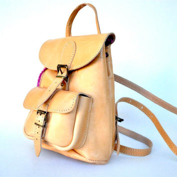 Petite Nude Leather Backpack