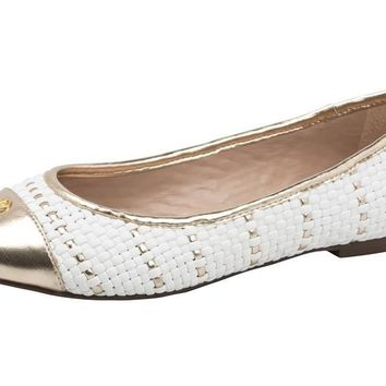 Tresse White and Gold Ballet Flat - Dumond