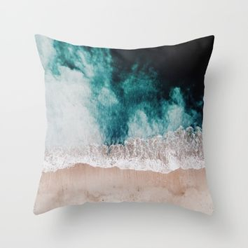 Ocean (Drone Photography) Throw Pillow by Lostfog Co↟