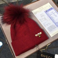 VONEY6G GUCCI Fashion Bee Embroidery Beanies Knit Winter Hat Cap4