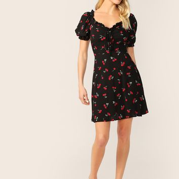 Frill Trim Knot Front Cherry Print Dress