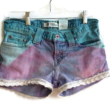 Ombre Lace Denim Jean Shorts Pink Ombred Tumblr Boho