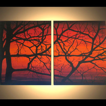 Original Modern Wall Art 32x20 Spring, Home Decor, Contemporary, Sunset, Dawn, Tree Branches, Abstract Acrylic Painting, great gift