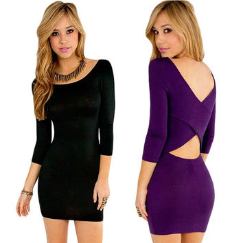 Trendy Fashion Women Sexy Slim Backless Package Hip Dress = 5738739841