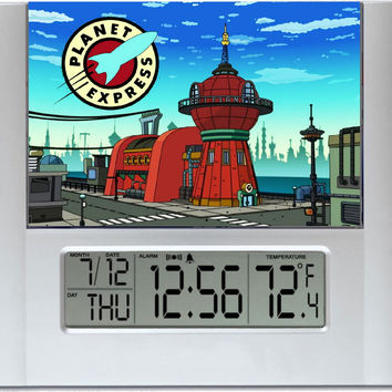 Futurama Planet Express Digital Wall Desk Clock with temperature and alarm
