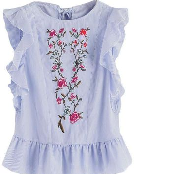 Ruffle Tops Cute Embroidery Blouse Women Blue Cap Sleeve Tops Keyhole Bow Tie Back Blouse