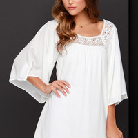 Dee Elle Seaside Sweetie Ivory Shift Dress