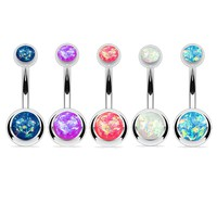 BodyJ4You 5PC Belly Button Rings 14G Created-Opal Silvertone Stainless Steel Curved Navel Barbell Set