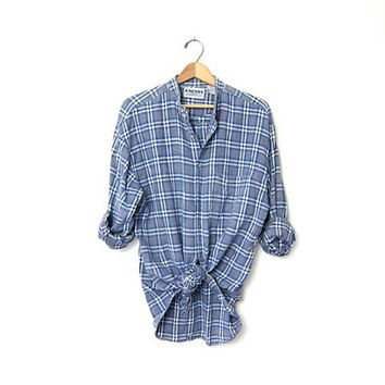 Vintage plaid cotton knit shirt. Tomboy button down shirt. Plaid collarless shirt. Boyfriend shirt. Blue Gray Shirt