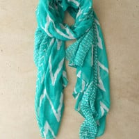 Wavy Lines Scarf in Teal [3940] - $14.00 : Vintage Inspired Clothing & Affordable Summer Frocks, deloom | Modern. Vintage. Crafted.