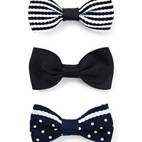 FOREVER 21 Refined Hair Clip Set Navy/Cream One