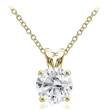 Gold Tone on Sterling Silver 2.75ct Cubic Zirconia 9mm Round Solitaire Necklace