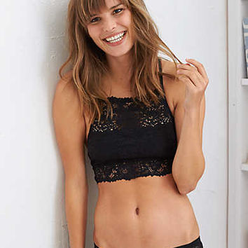 Aerie Lace Hi Neck Bralette , True Black