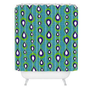 Sharon Turner Peacock Mod Drops Shower Curtain