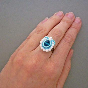 Blue Soutache Ring, Aqua & Teal Soutache Jewelry, Blue and White Czech glass beads on Bronze Ring, Something blue