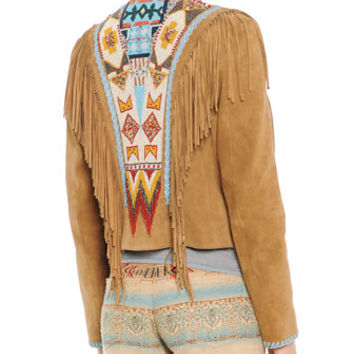 Etro Suede Fringe Jacket with Geometric Beading, Lace-Trim Beaded Camisole & Santa Fe Printed Linen-Blend Cropped Pants