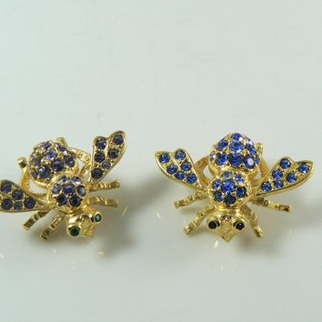 Joan Rivers Rhinestone Gold Tone Bee Brooch/Pin Pair