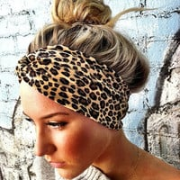 Leopard Velour twisted turban Headband Twist by ThreeBirdNest