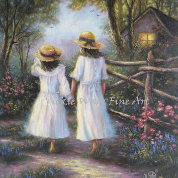 Two Sisters Original Oil Painting 18X24, two girls walking hand in hand, canvas, cottage, woods, nature, flowers, Vickie Wade Art