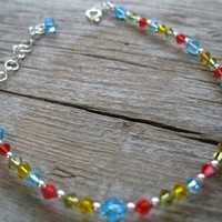 Swarovski Crystal Anklet Red, Aqua, Olive Green, Golden