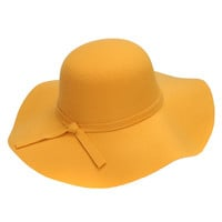 Yellow Bow Tie Woolen Fedora Hat