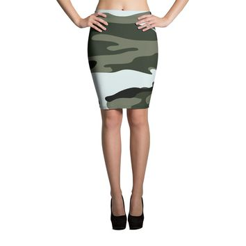 Black and White Camo Pencil Skirt