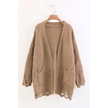 Cut Out Bagger Styles Pockets Loose Cardigan